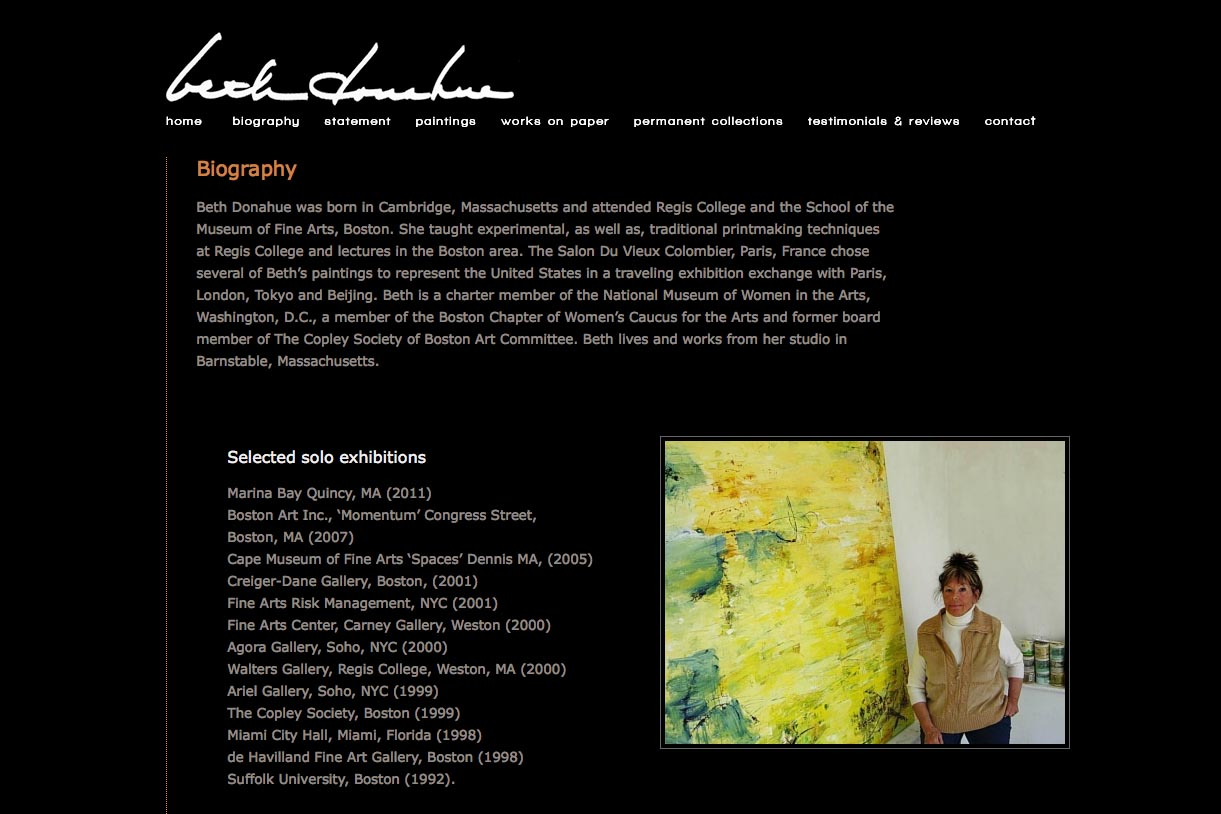 web design for an abstract artist - Beth Donahue - biography page