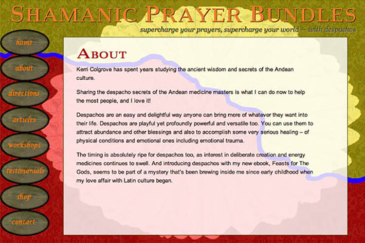 web design for a shamanic healer - about page