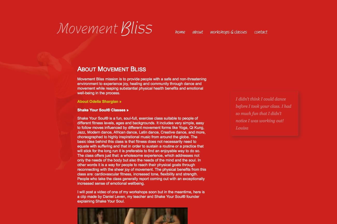 web design for a dancer and movement teacher - about page
