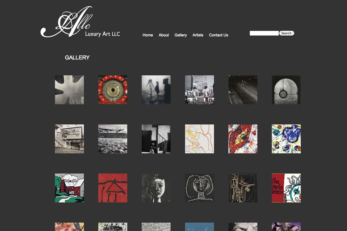 web design for a luxury art rental company in New York - gallery page