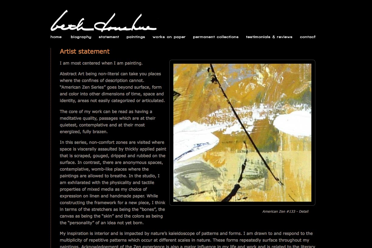 web design for an abstract artist - Beth Donahue - statement page