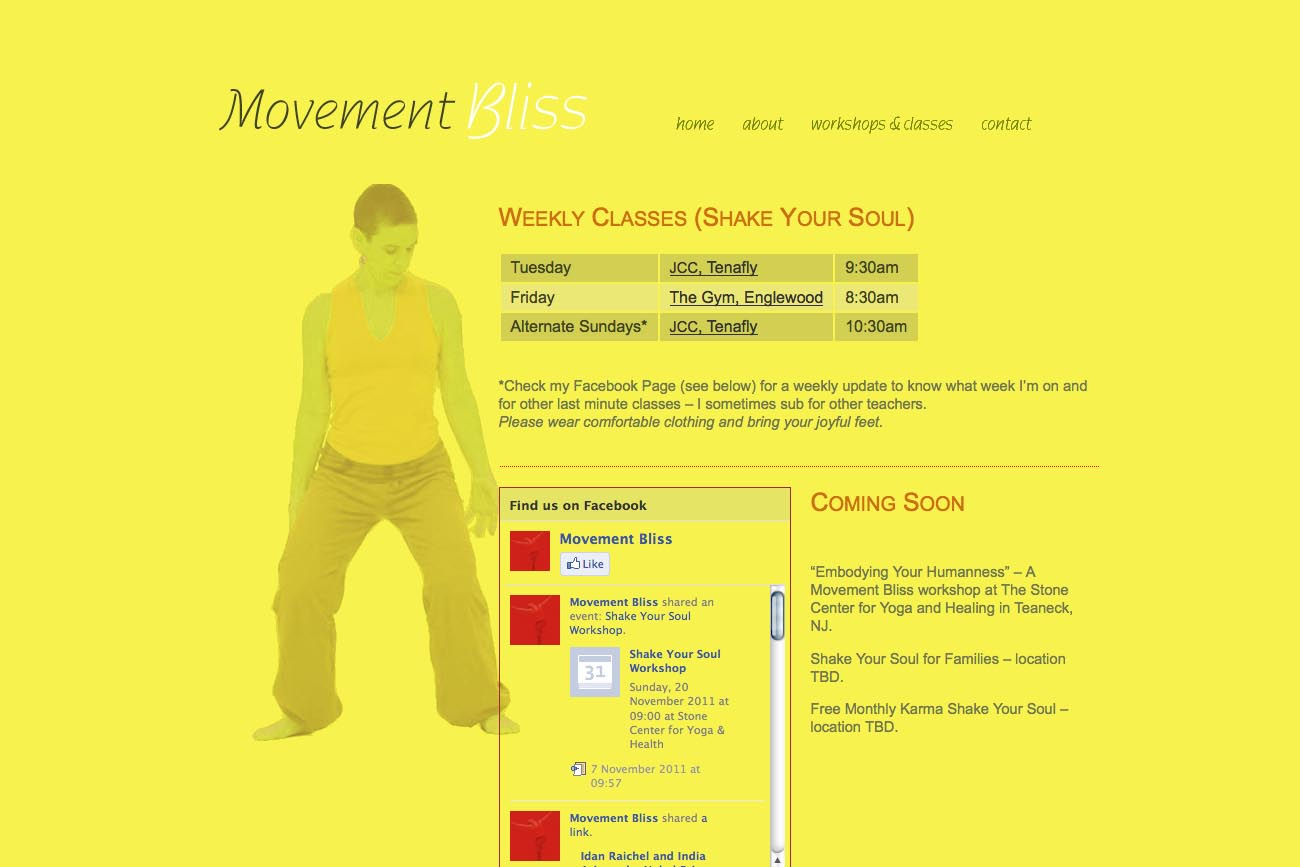 web design for a dancer and movement teacher - classes page