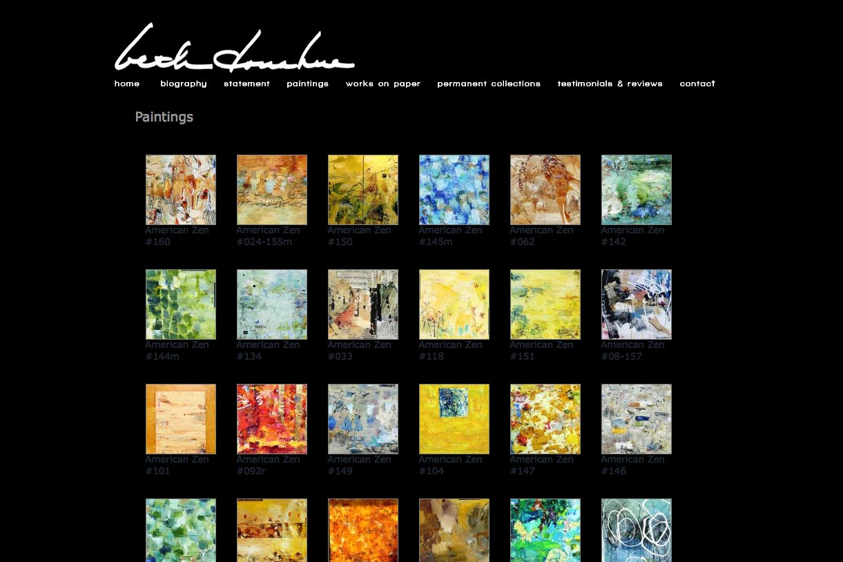 web design for an abstract artist - Beth Donahue paintings page