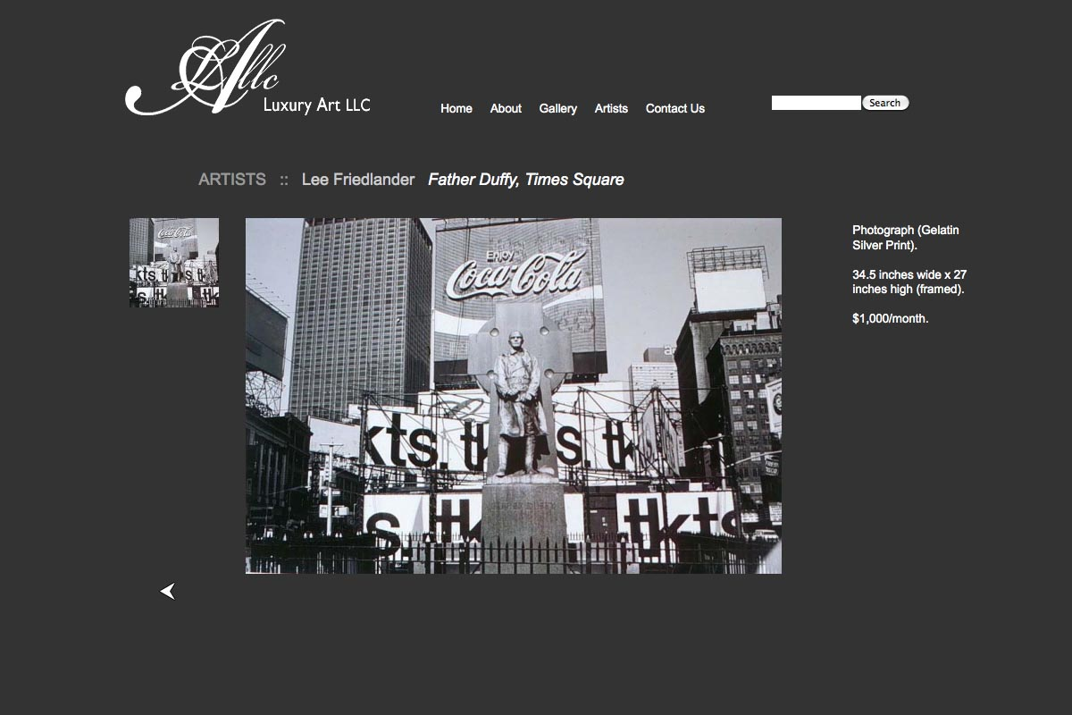 web design for a luxury art rental company in New York - single artist page