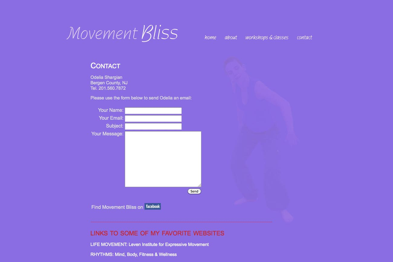 web design for a dancer and movement teacher - contact page