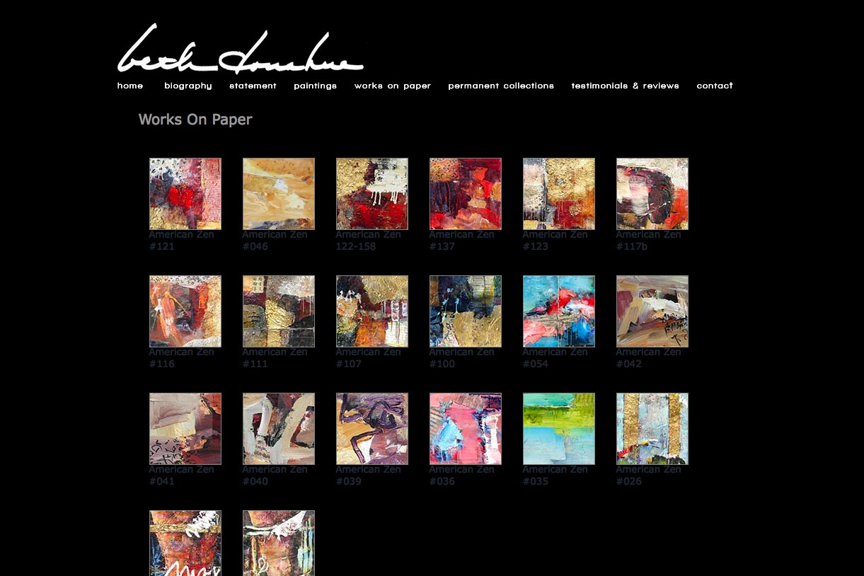 web design for an abstract artist - Beth Donahue - works on paper page