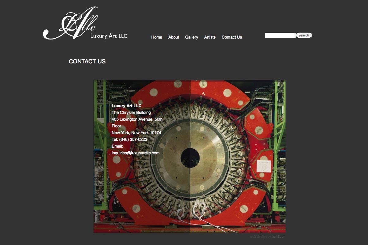 web design for a luxury art rental company in New York - contact page