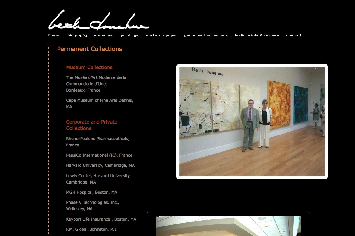web design for an abstract artist - Beth Donahue - collections page