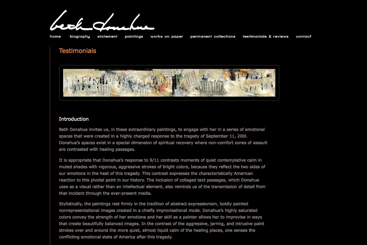web design for an abstract artist - Beth Donahue - testimonials and reviews page
