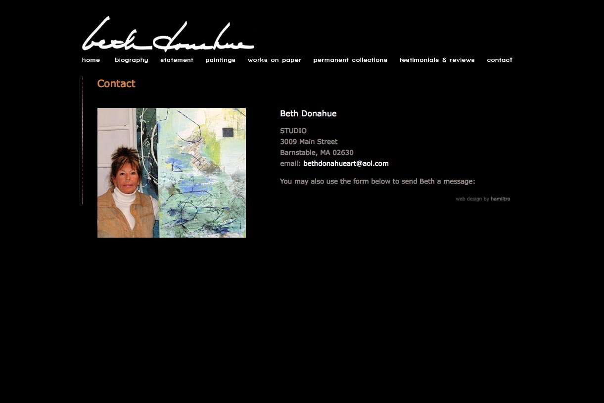 web design for an abstract artist - Beth Donahue- contact page