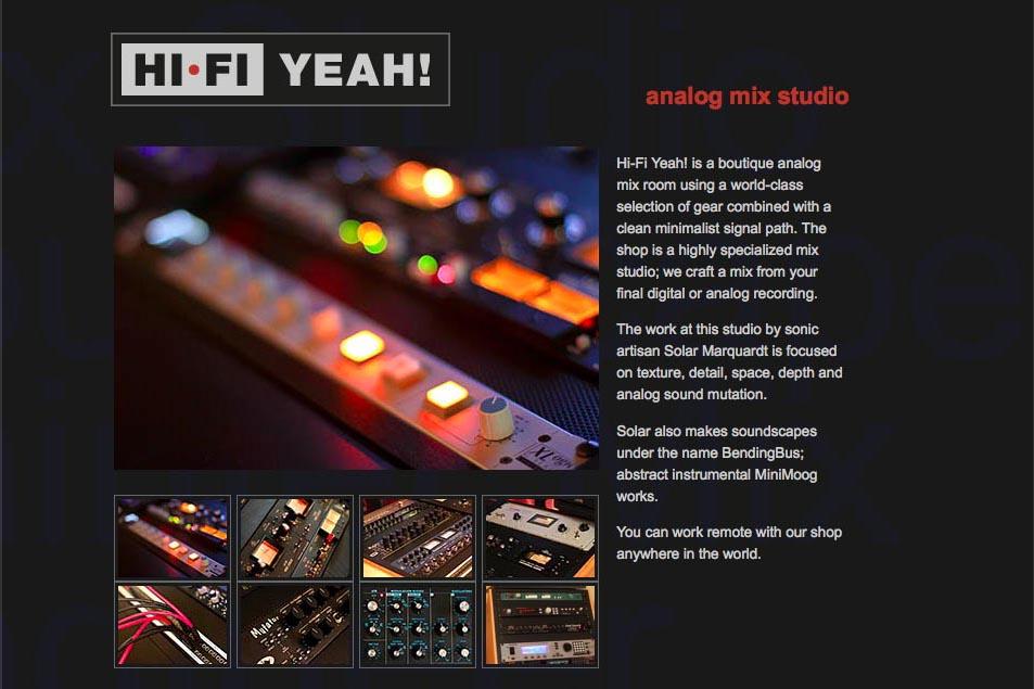 web design for an audio recording studio