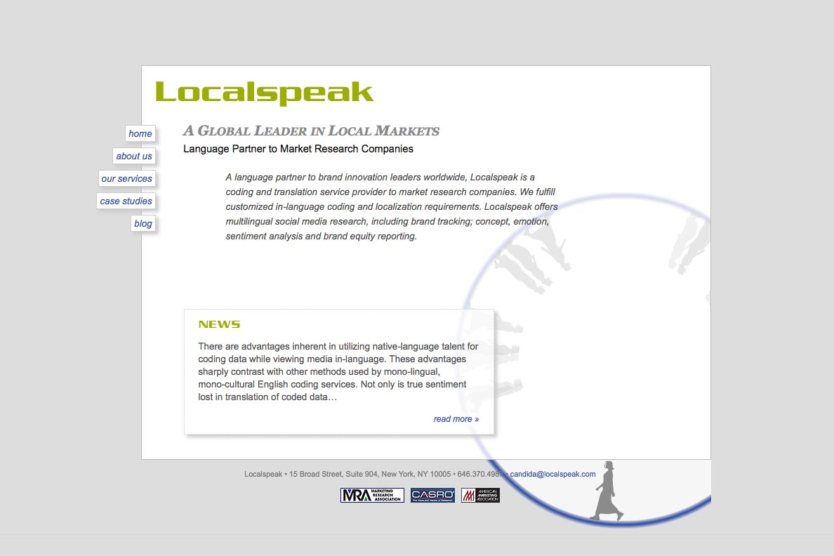 web design for a global branding and translation company - Localspeak