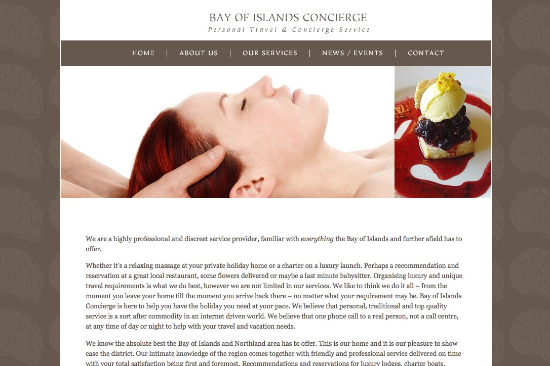 web design for a tourist services company - Bay of Islands Concierge
