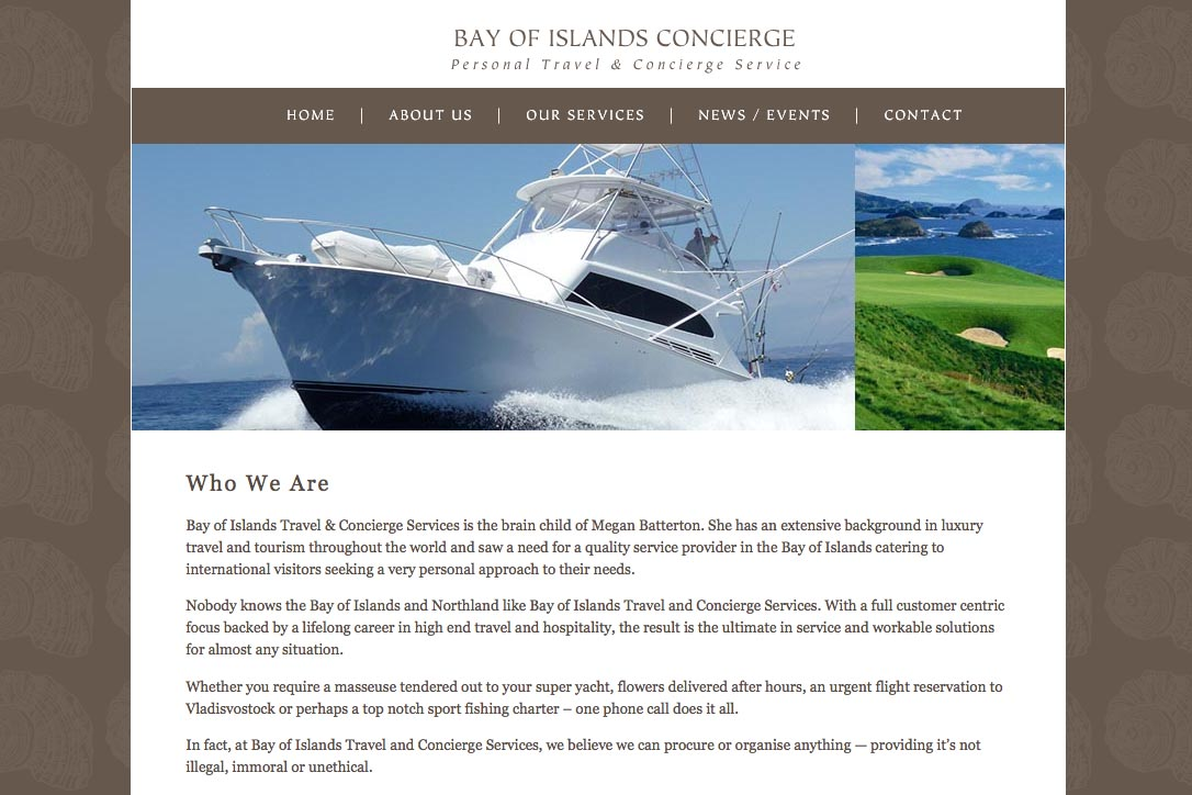 web design for a New Zealand tourist services company - about page