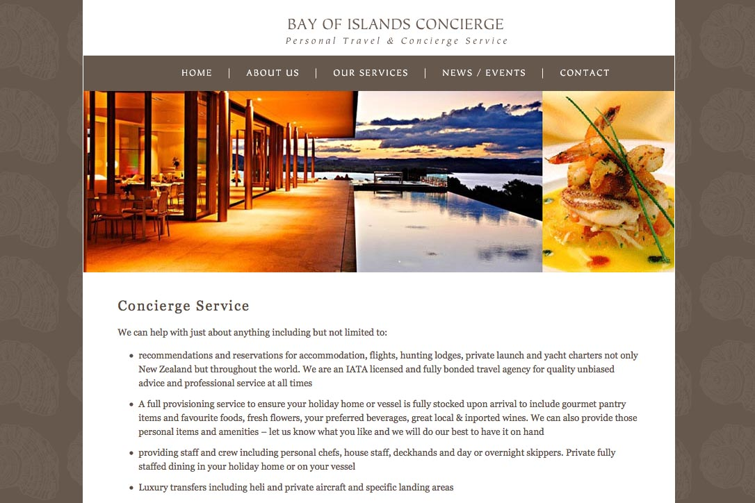 web design for a New Zealand tourist services company - services page