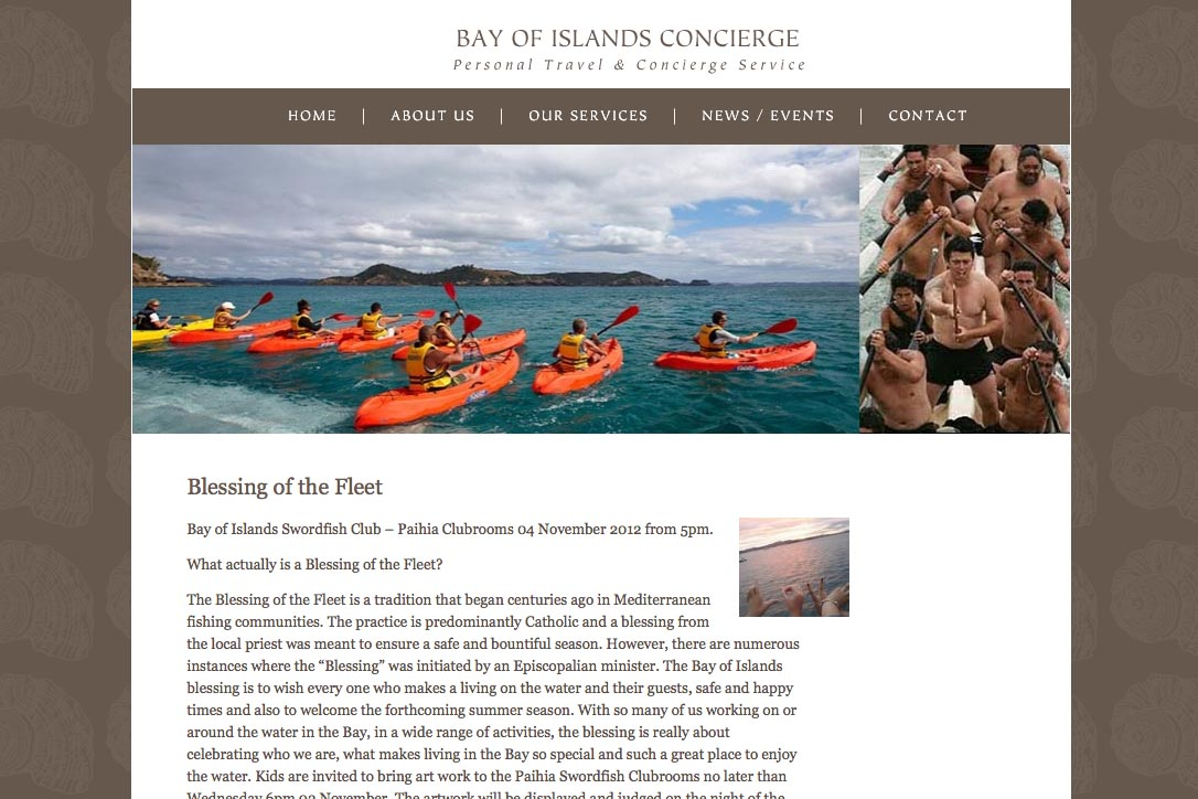 web design for a New Zealand tourist services company - news page