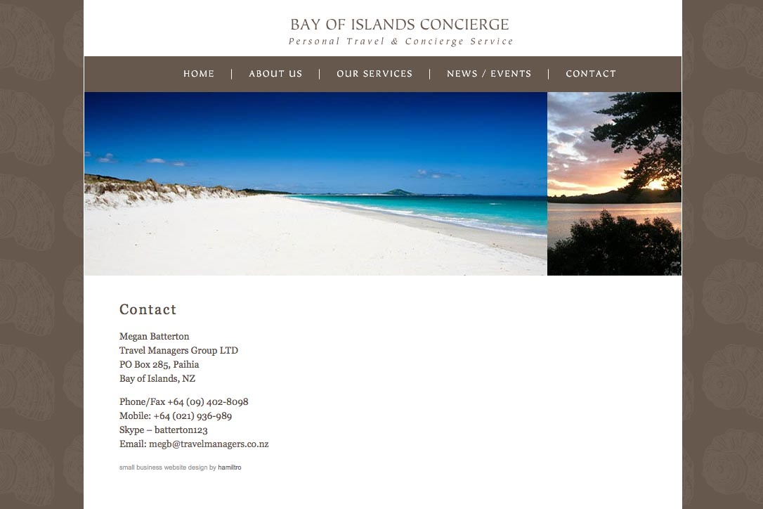 web design for a New Zealand tourist services company - contact
