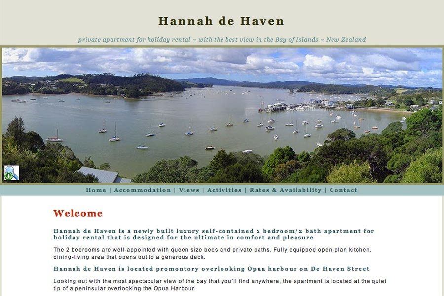 web design for a holiday home in New Zealand