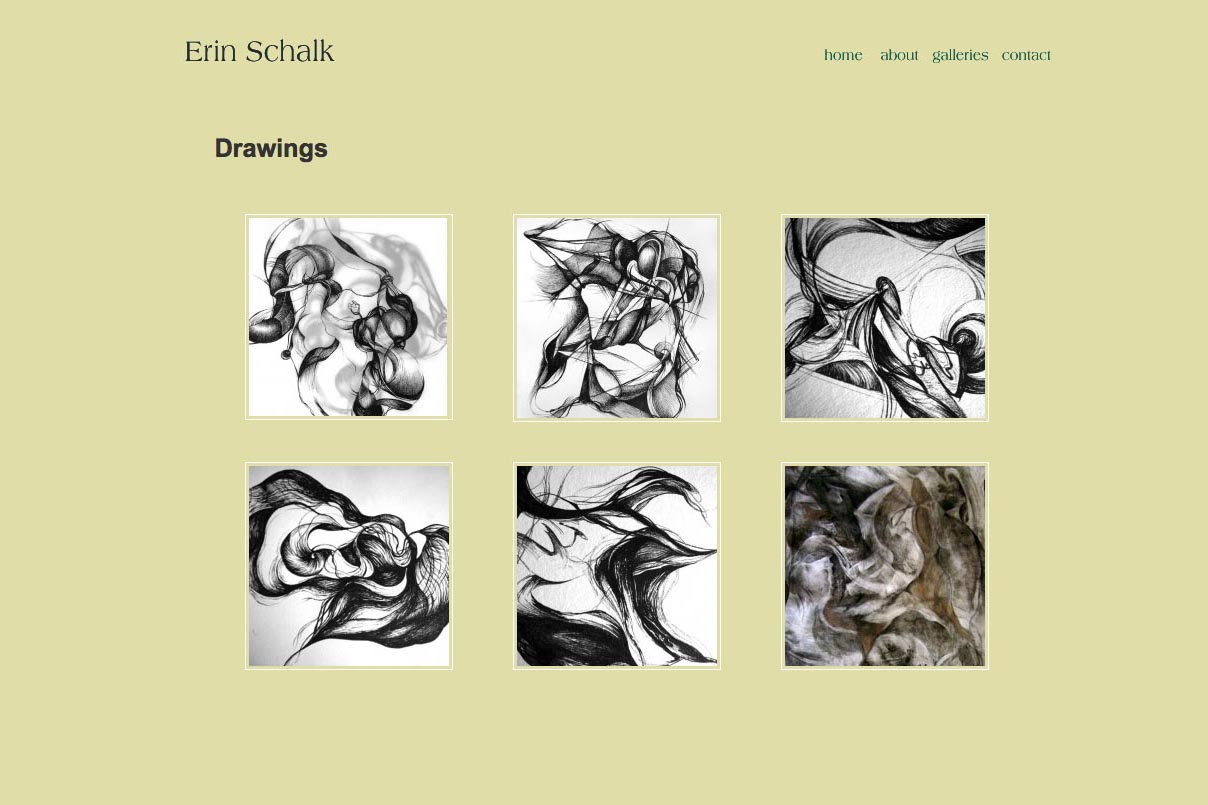 web design for an abstract artist and ceramicist - Erin Schalk - drawings page