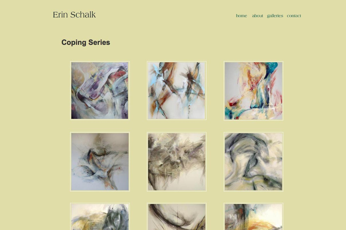 web design for an abstract artist and ceramicist - Erin Schalk - index page for coping series portfolio