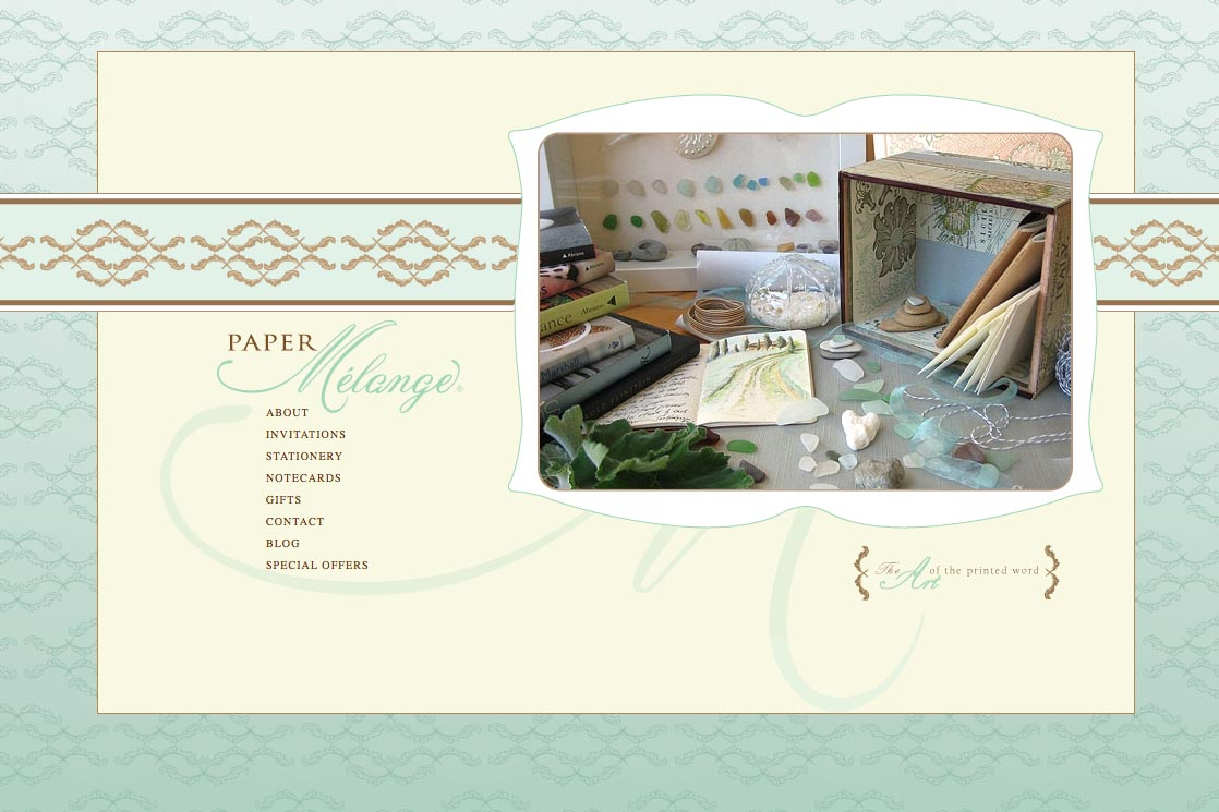 web design for a stationery designer - by artistic web designer for creative professionals, Rohesia Hamilton Metcalfe