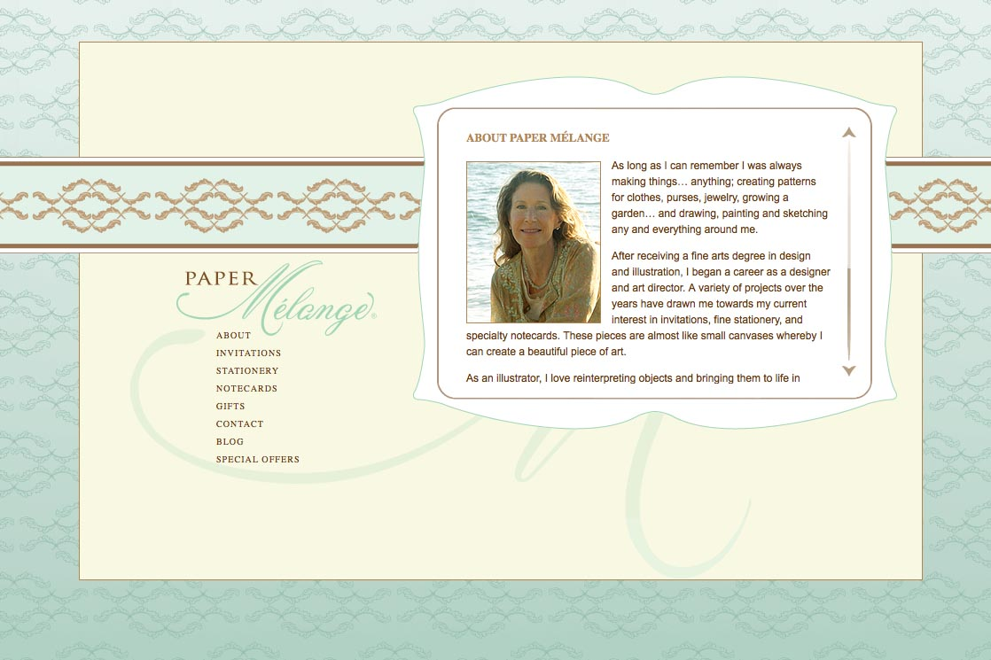 web design for a stationery designer - Paper Melange - about page