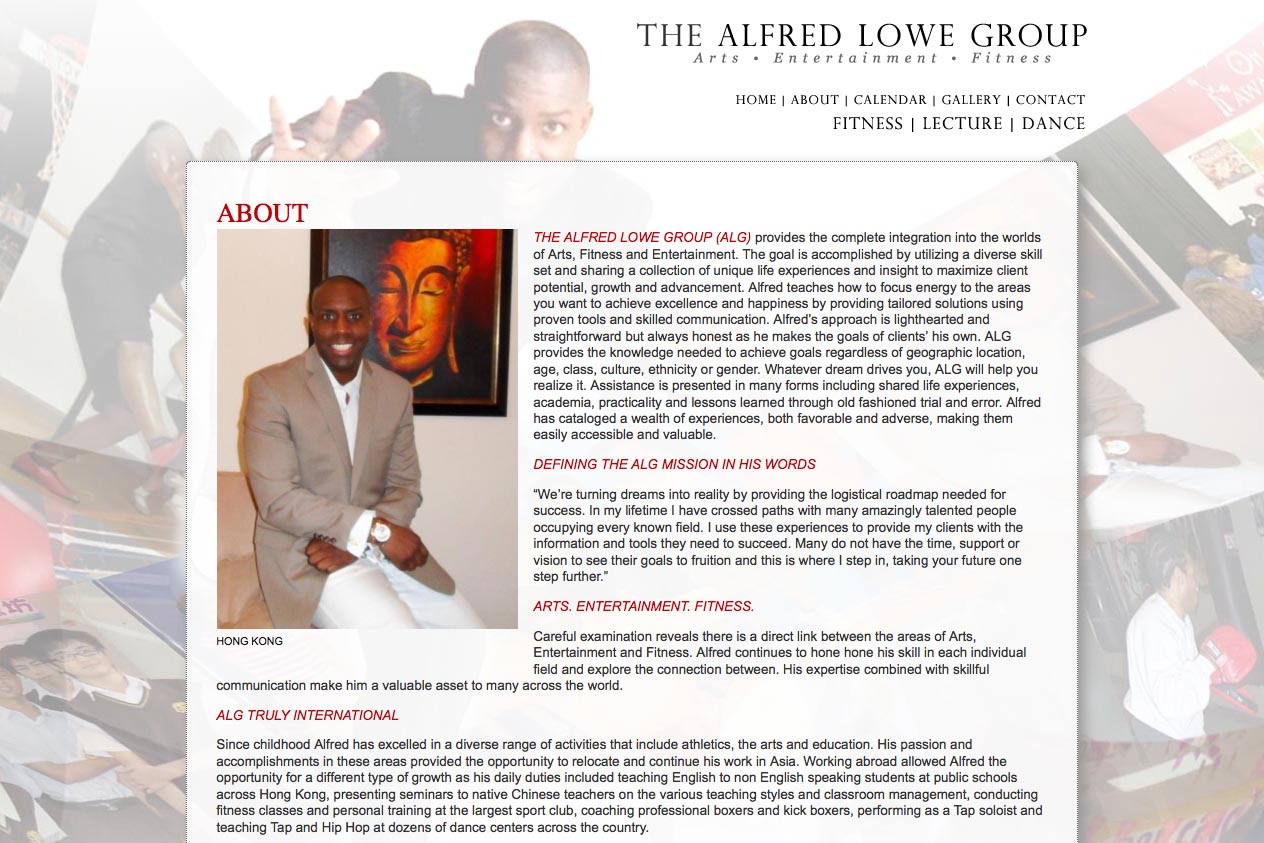 web design for a dancer, fitness coach and choreographer - Alfred Lowe - about page