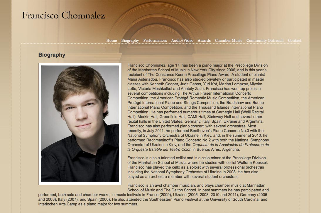 web design for a young concert pianist - bio page