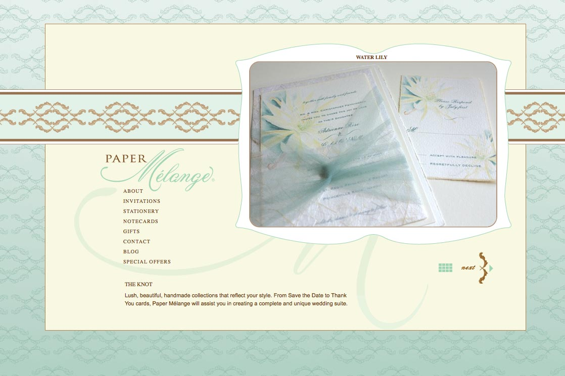 web design for a stationery designer - Paper Melange - invitations page