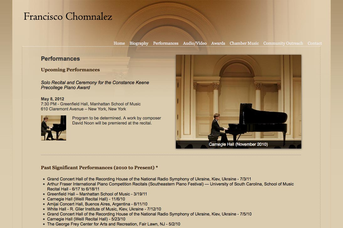 web design for a young concert pianist - performances page