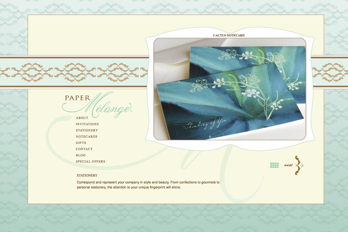 web design for a stationery designer - Paper Melange - stationery page