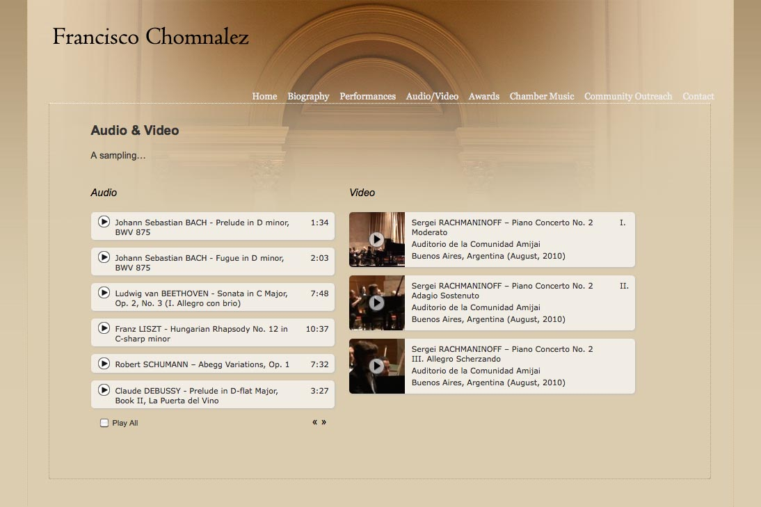 web design for a young concert pianist - audio and video page
