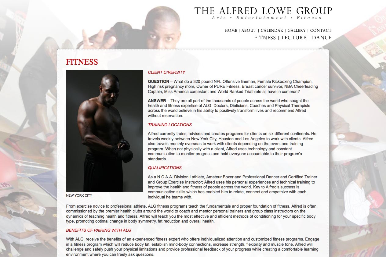 web design for a dancer, fitness coach and choreographer - fitness page