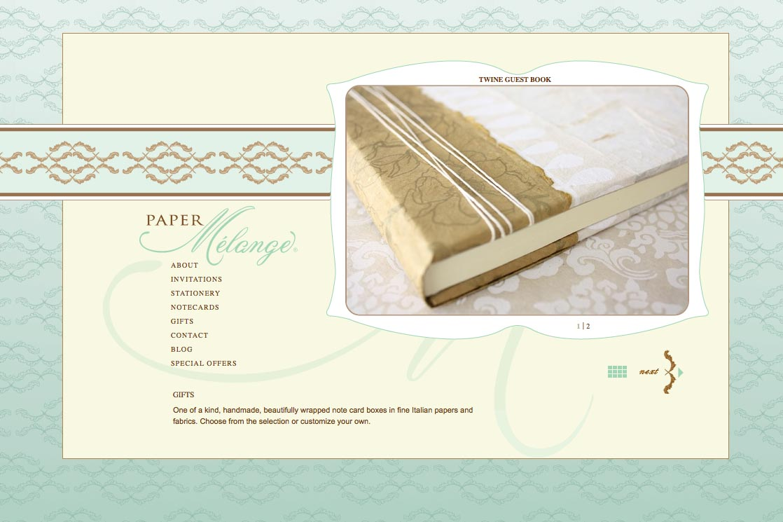 web design for a stationery designer - Paper Melange - gifts page