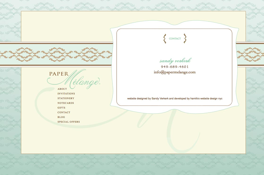 web design for a stationery designer - Paper Melange - contact page