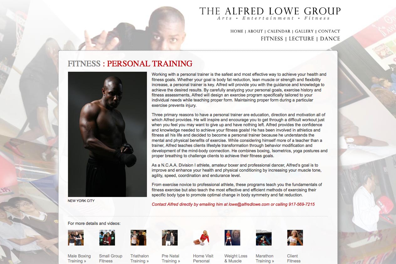 web design for a dancer, fitness coach and choreographer - fitness page with thumbnails