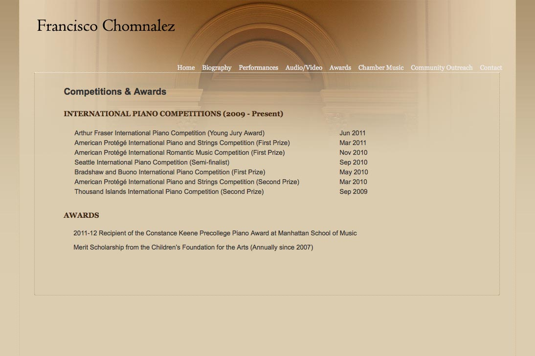 web design for a young concert pianist - competitions and awards page