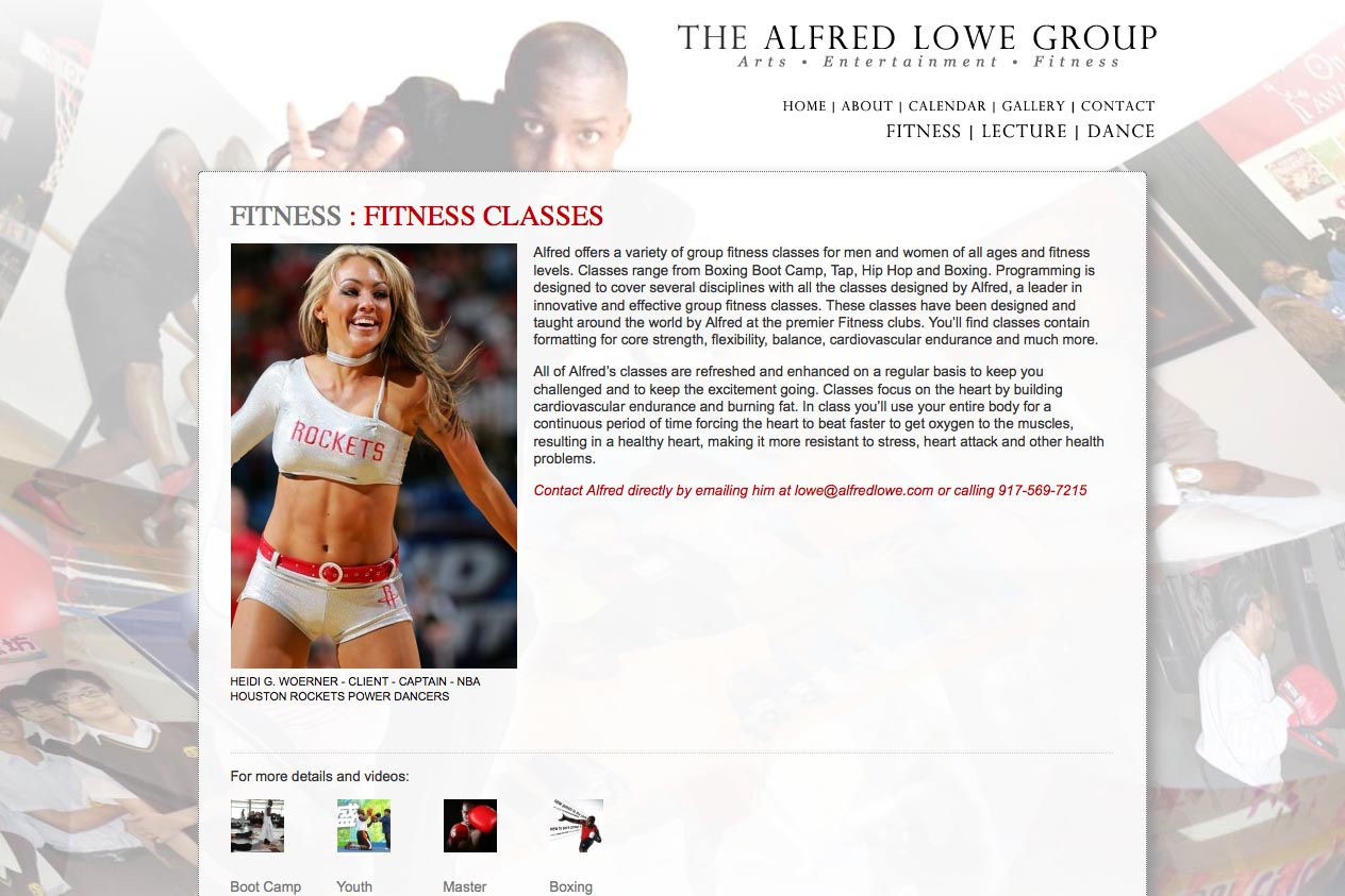 web design for a dancer, fitness coach and choreographer - fitness service page