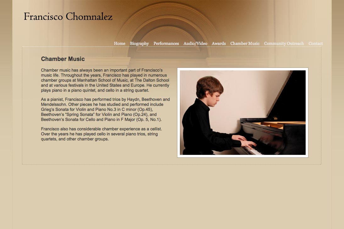 web design for a young concert pianist - chamber music page