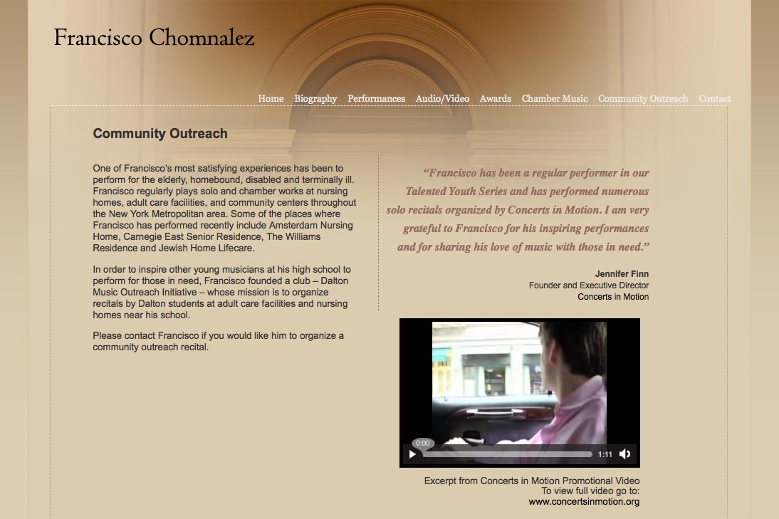 web design for a young concert pianist - community outreach page