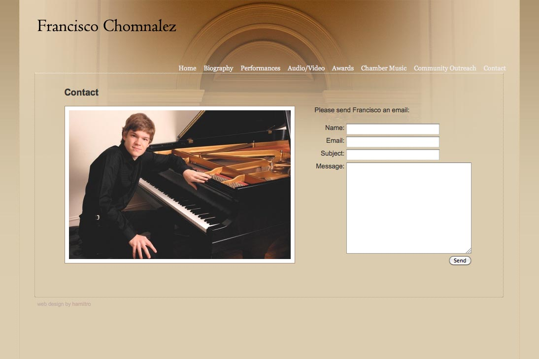 web design for a young concert pianist - contact