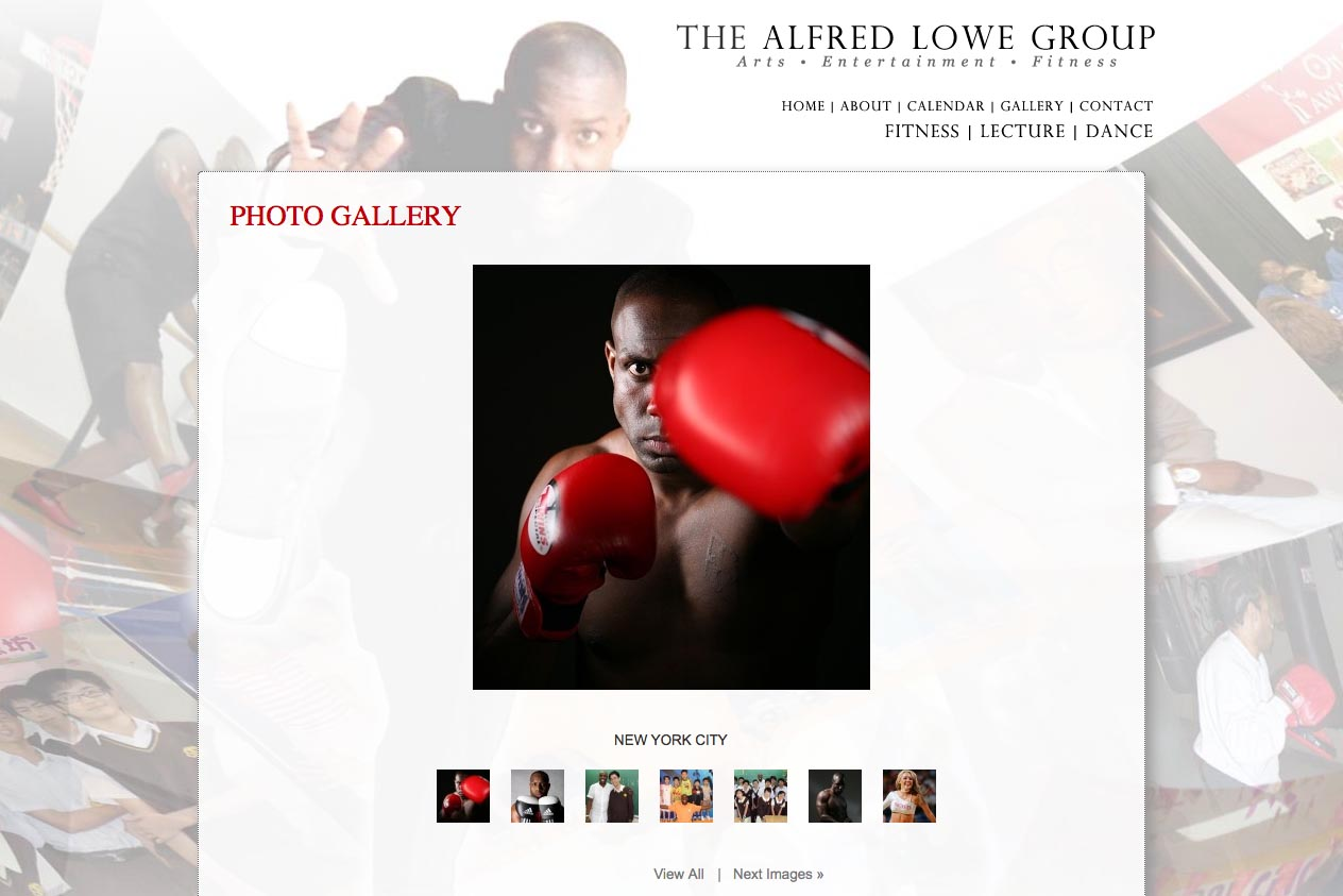web design for a dancer, fitness coach and choreographer - Alfred Lowe - gallery page