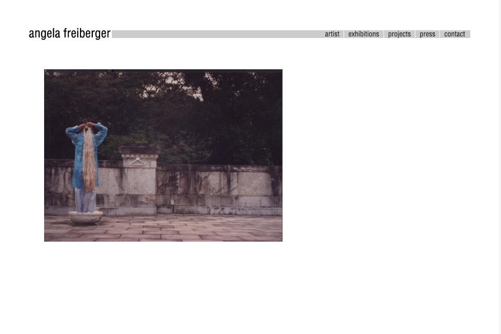 web design for a sculptor and performance artist - Angela Freiberger - by web designer Rohesia Hamilton Metcalfe