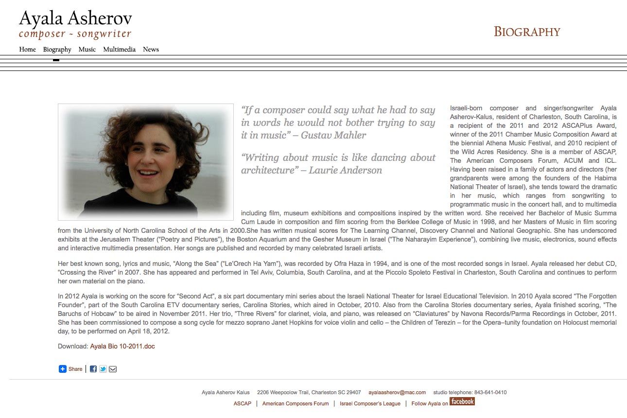 web design for a composer - Ayala Asherov - biography page