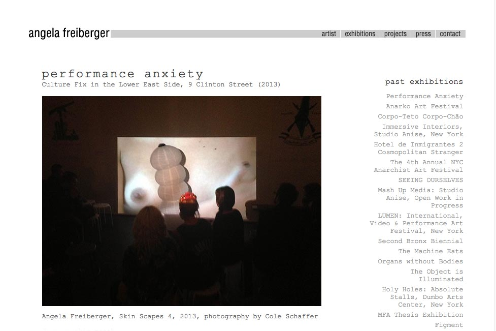web design for a sculptor and performance artist - Angela Freiberger - exhibitions page