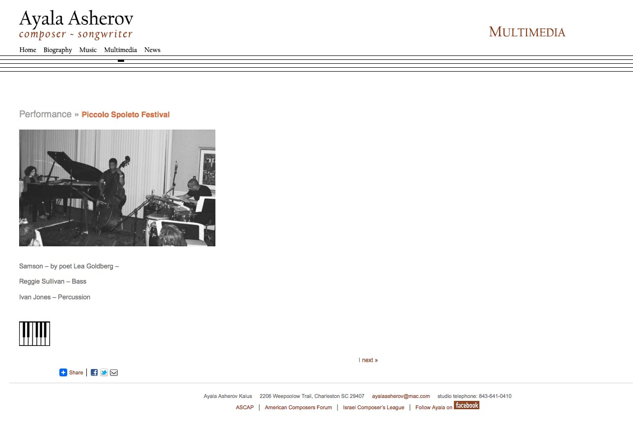 web design for a composer - Ayala Asherov - multi-media single piece page