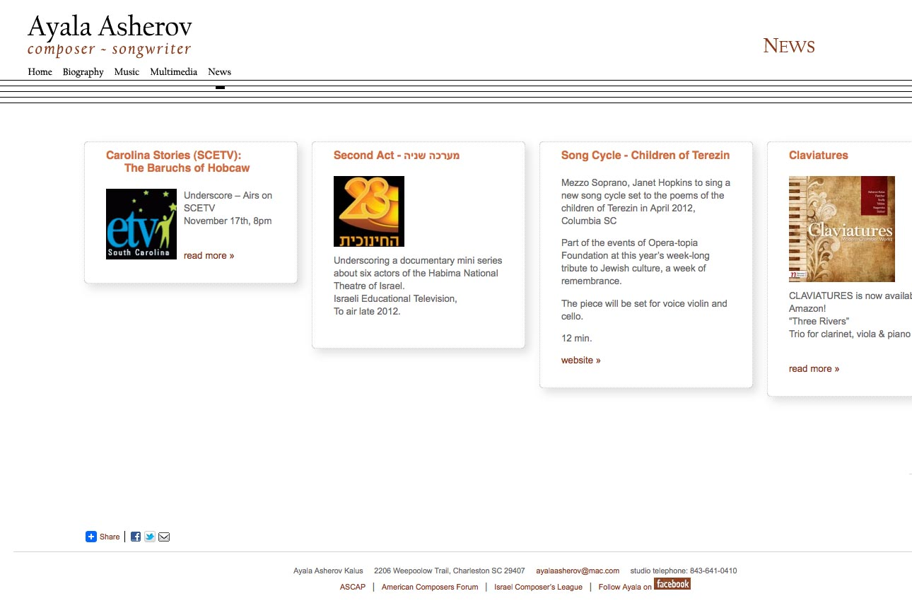 web design for a composer - Ayala Asherov - news page