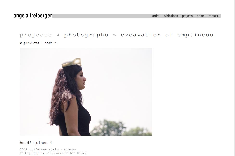 web design for a sculptor and performance artist - Angela Freiberger - single photograph page