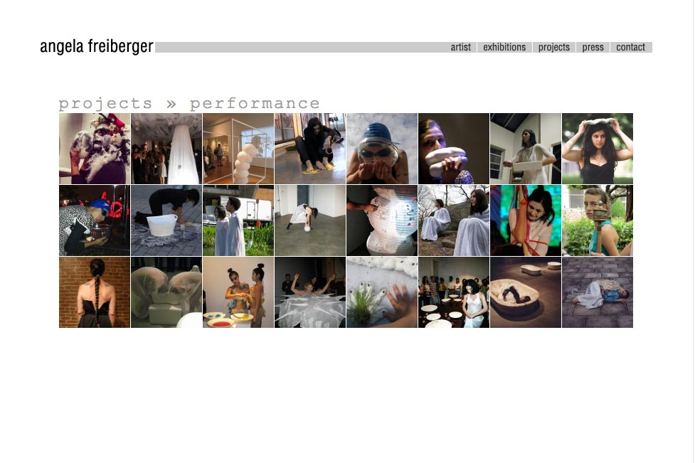 web design for a sculptor and performance artist - Angela Freiberger - performance section index page