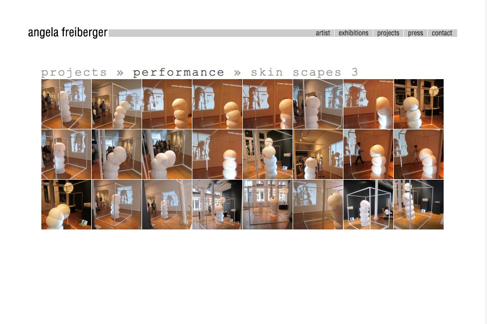 web design for a sculptor and performance artist - Angela Freiberger - performance series index page
